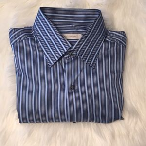 Ermenegildo Zegna blue stripe dress shirt Size L